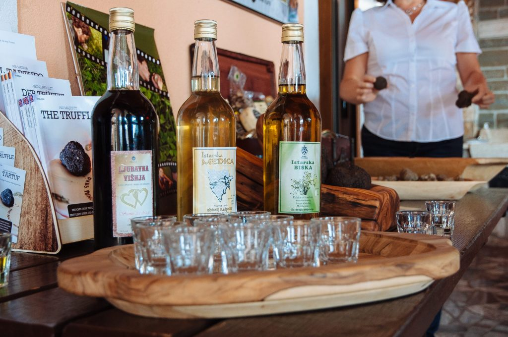 Sampling brandies at the Karlic Estate