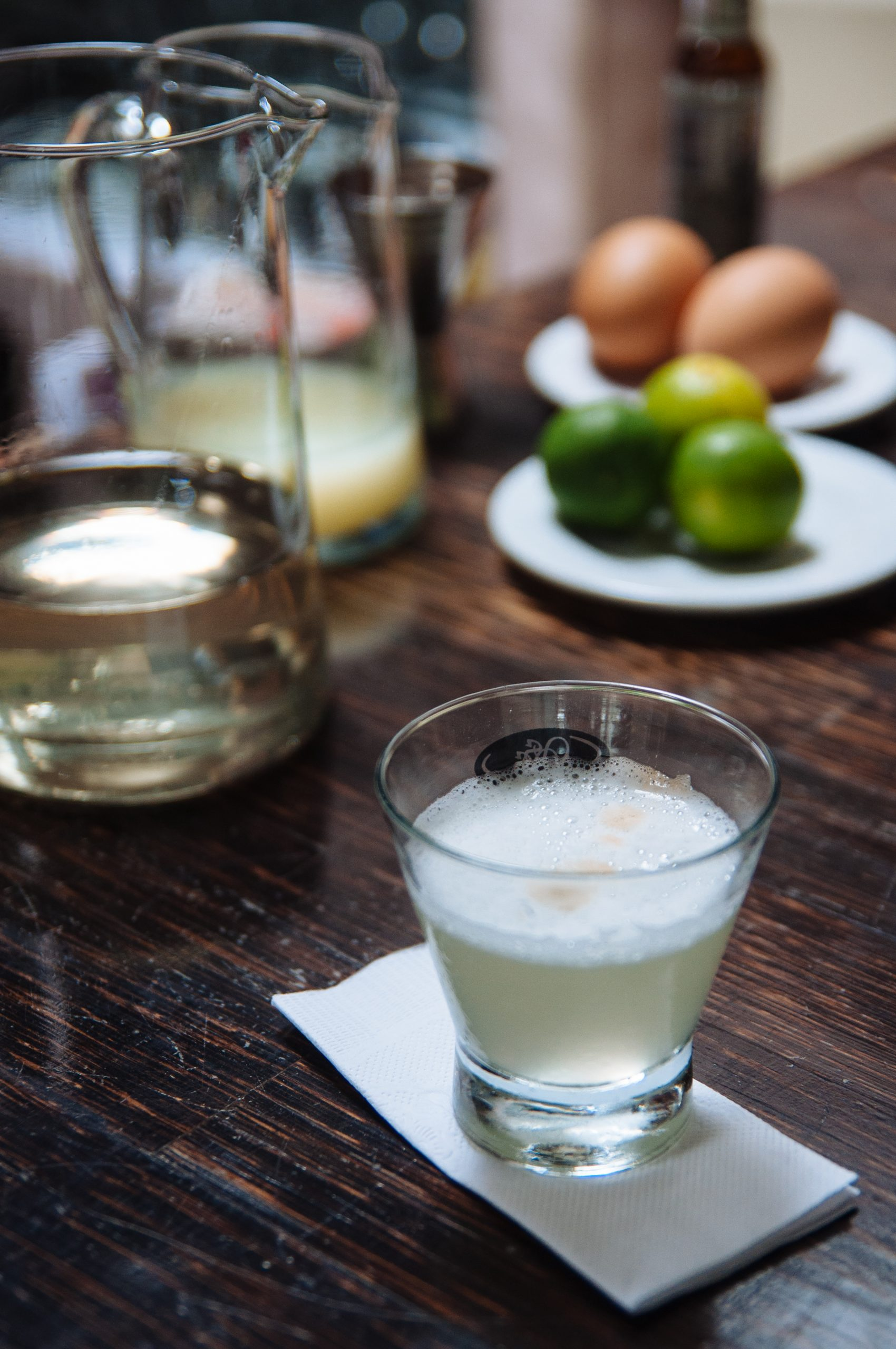 A Pisco Sour on display at Senorio de Sulco
