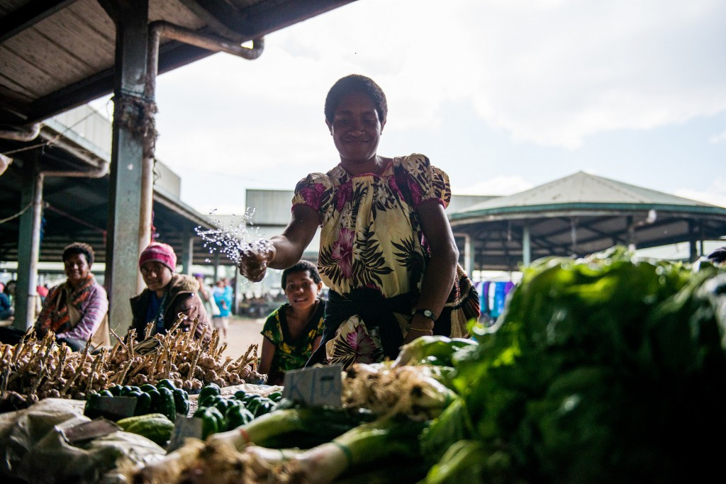 The secret to keeping veggies fresh at Mount Hagen Market.