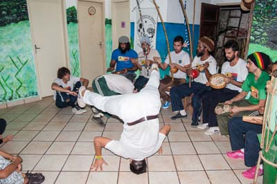 The capoeira performance in Salvador