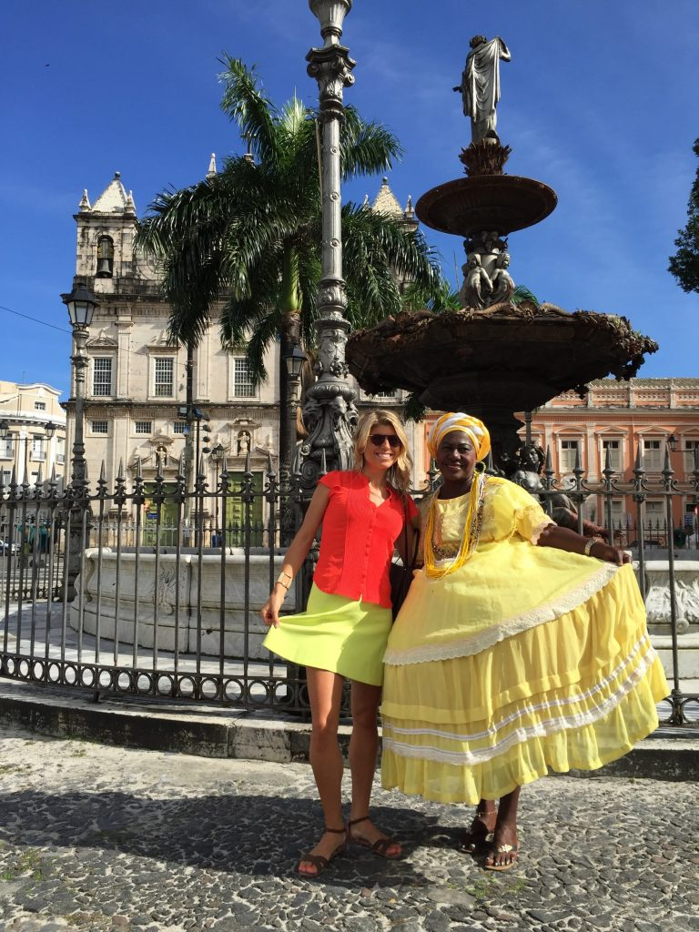 The traditional dress of a Bahia woman in Salvador's Pelourinho