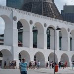The Carioca Aqueduct in front of the Metropolitan Cathedral of Rio de Janeiro, two highly contrasting styles in Lapa