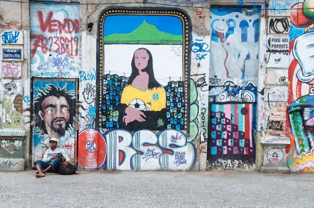 Colorful graffiti in Rio's Lapa neighborhood