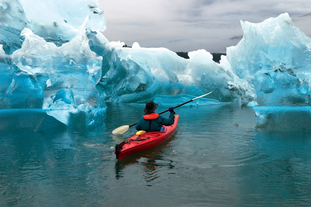 Kayaking the Tracy Arm Fjord in Alaska (credit Ralph Lee Hopkins with Lindblad Expeditions)
