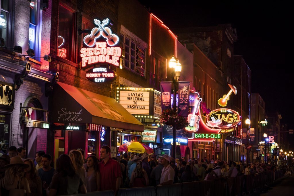 Nashville's Broadway, with live music performances behind every door