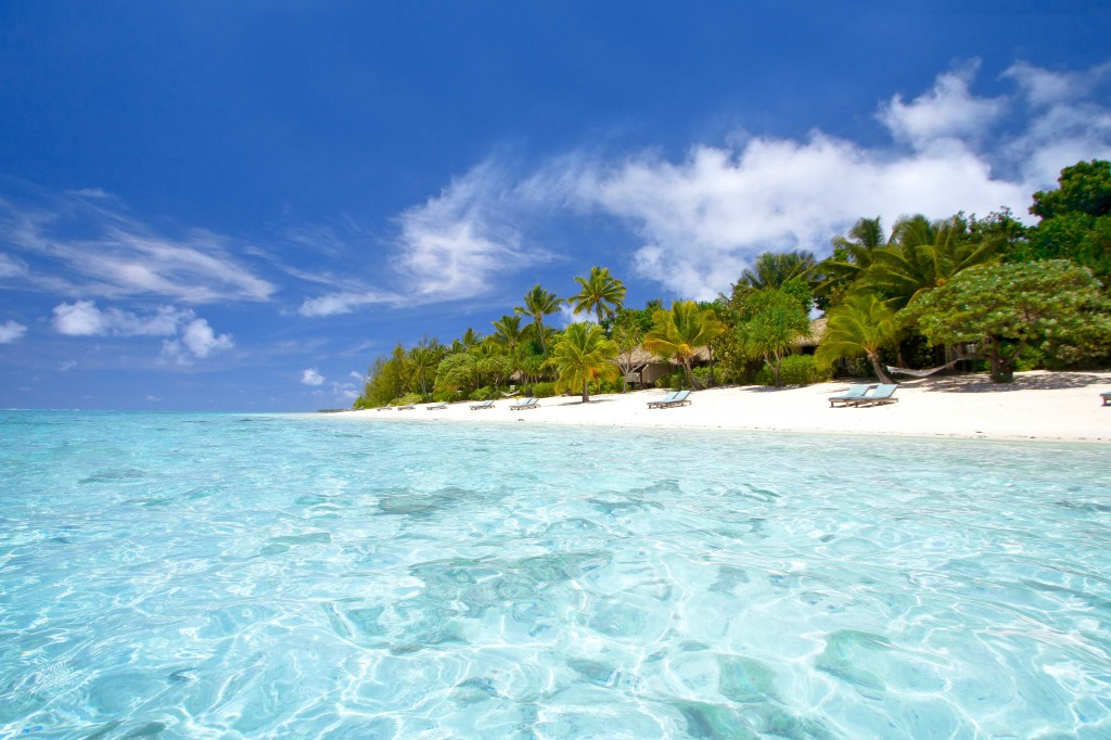 (credit David Kirkland, Pacific Corner, Pacific Resort Aitutaki, Cook Islands) View from the beach