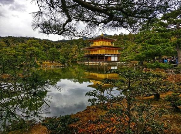 The Golden Pavilion, also known as Kinkaku-Ji Temple, in Kyoto, photo credit: @orslnsight