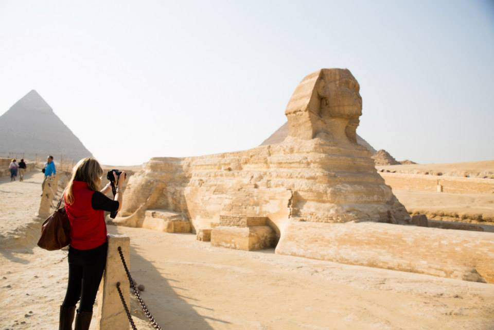 Photographing the Great Sphinx of Giza. Image: Justin Weiler