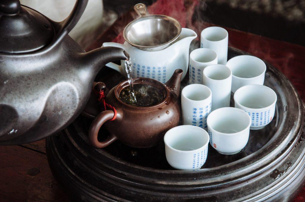 Sampling green tea in Jiufen