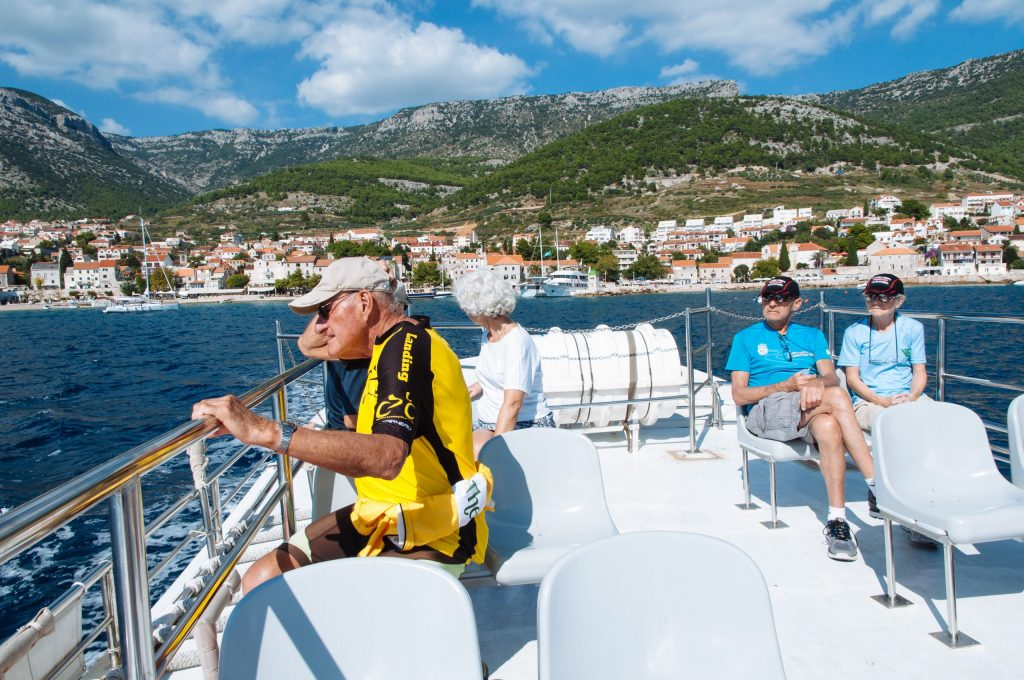 The VBT group ferrying from Brac to Hvar.