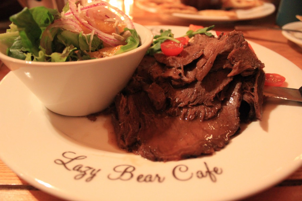 The delicious food served at the Lazy Bear Cafe.