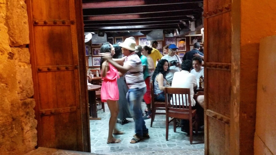 Looking in on Fidel's Salsa Bar – a mix of people and music