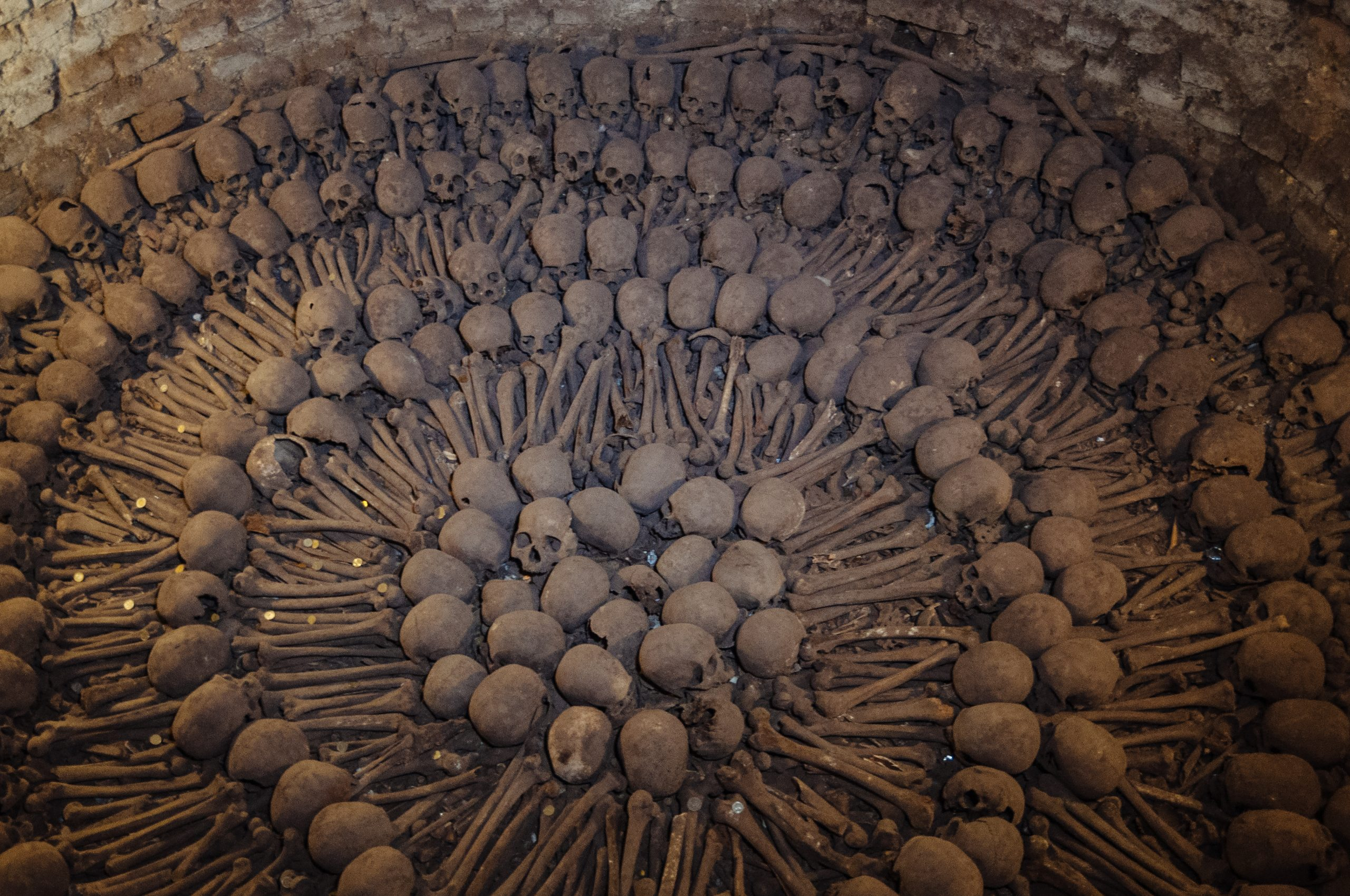 A collection of bones in the San Francisco Church Catacombs
