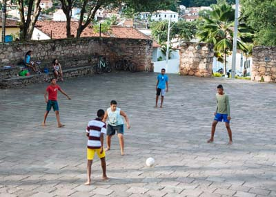 Kids playing soccer in Lencois