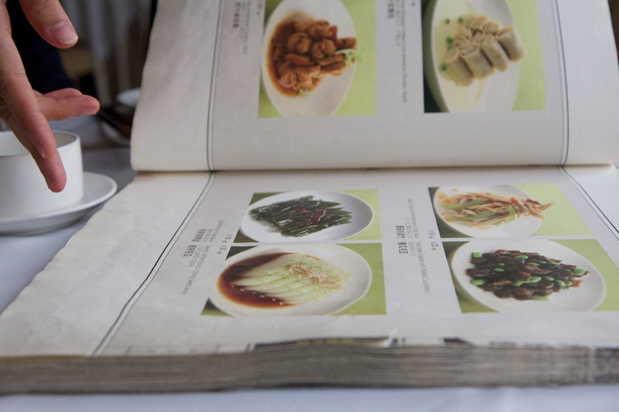 A super thick menu with pictures