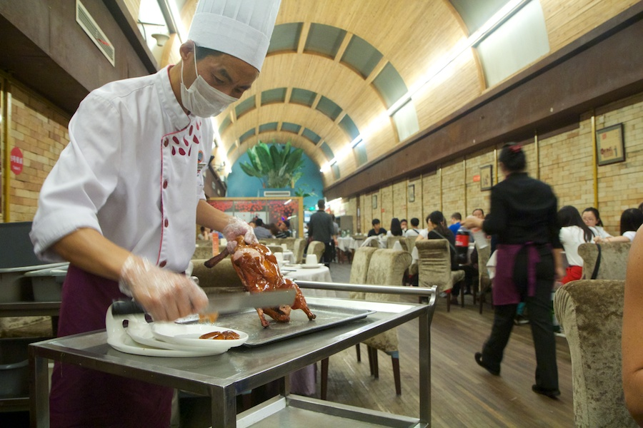 Carving Peking Duck at our table