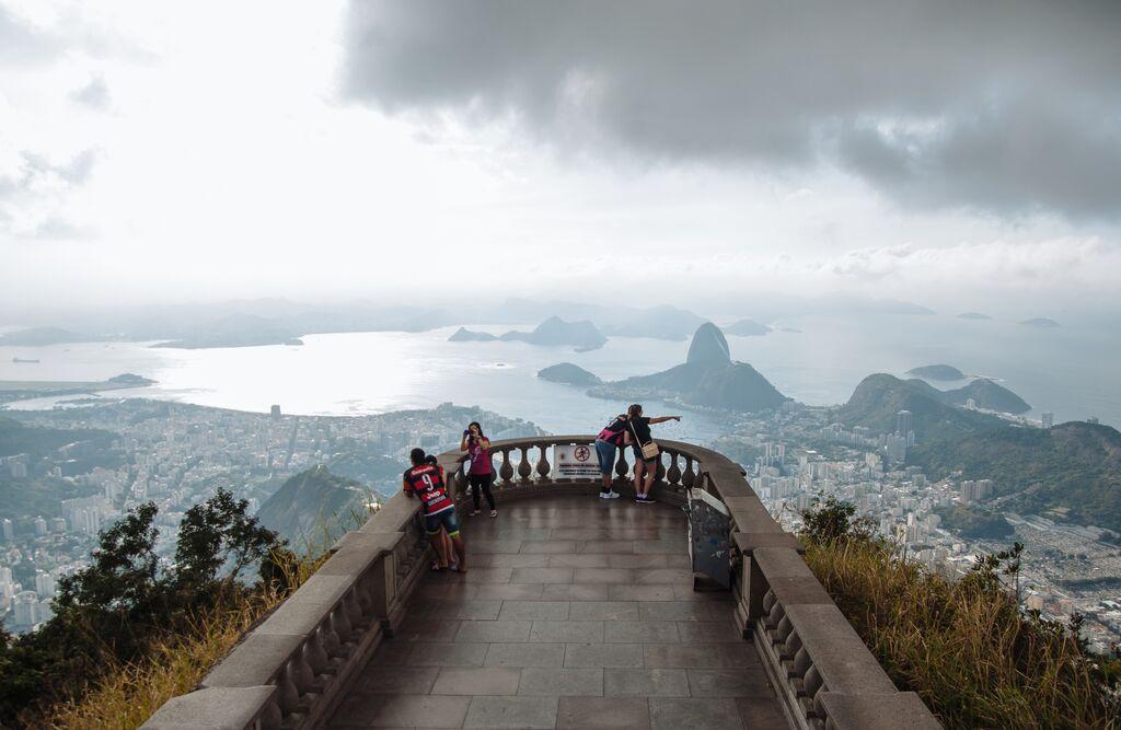 A panoramic view of Rio de Janeiro from Corcovado Mountain
