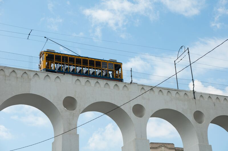 A cable car running through the Lapa district
