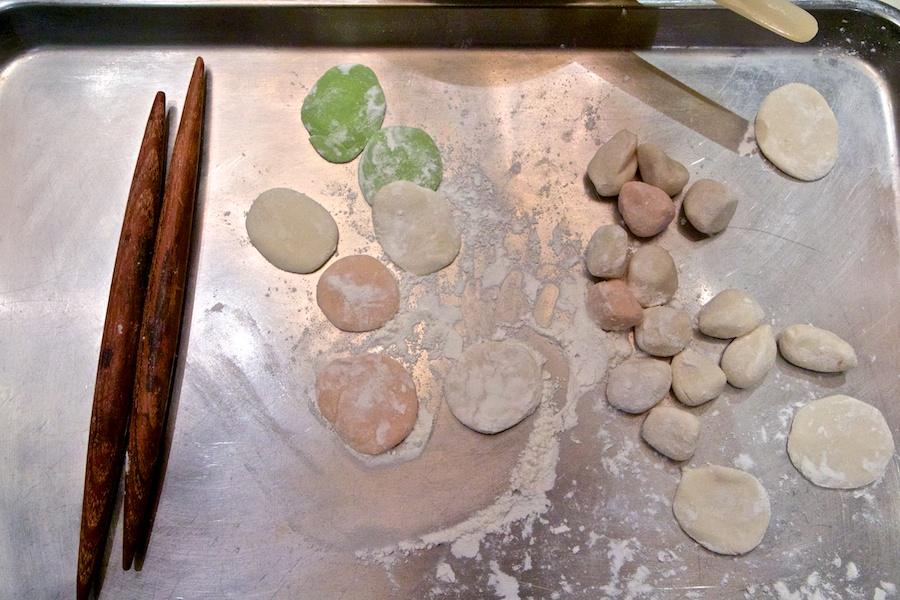 Rolling out dumpling dough in Xi'an