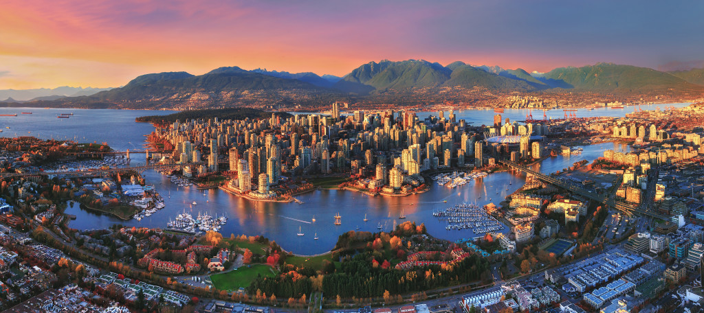 Vancouver Tourism Aerial Sunset Vancouver